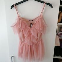 Pink Nude Blush Chiffon Top Peplum Small to Medium Photo