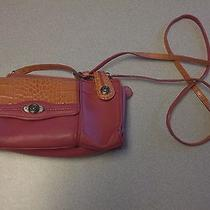 Pink & Orange All Leather Brighton Small Organizer Style Bag Purse Photo
