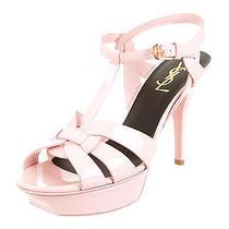 Pink Patent Leather Yves Saint Laurent Tribute Sandals Shoes 38.5 Us 8.5 Photo