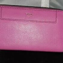 Pink Pebble Leather Zip Around Accordion Wallet by Fossil Checkbook Size Photo