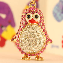 Pink Penguin Keychain Swarovski Crystal Charm Cute Gift Photo