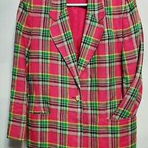 Pink Plaid 100% Linen Jacket Vintage Talbots Size 8 Medium Suit Blazer Coat Photo