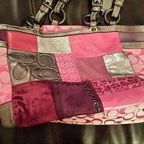Pink Purple and Silver Coach Holiday Patchwork Purse Photo