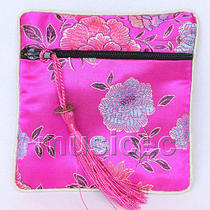 Pink-Red Jewelry Pocket Money Silk Zipper Bags Pouches T880a03 Photo