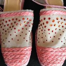 Pink Sequinc Stuart Weitzman  Ankle Tie Wedge Sandals W/bling - Unique Photo