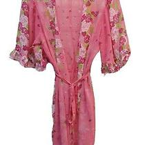 Pink Sheer Robe Betsey Johnson Ruffle Wrap Elegant Intimate Lingerie Photo