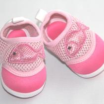 Pink Silver Dot Fish Applique Aqua Baby Girl Shoe - 0-3 Months  Photo