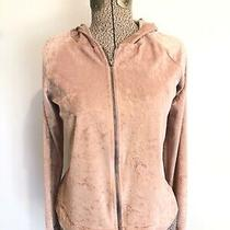 Pink Velvet Hoodie Full Zip Long Sleeve Blush Rose Pastel Womens Medium Top Photo