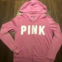 Pink Victoria Secret Pink Zip Up Hoodie With White Pink Printed - Size S Photo