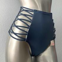 Pink Victorias Secret Nwt High Waist Blue Strappy Swim Bikini Bottom  Photo