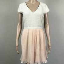 Pins & Needles Anthropologie Women's M Beige Blush Micro Pleated Chiffon Dress Photo