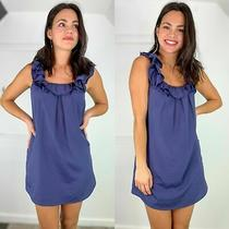 Pins & Needles Xs Ruffled Scoop Neck Shift Dress Urban Outfitters Blue Mini Tank Photo