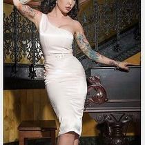 Pinup Couture Vivien Satin Dress Blush Rockabilly Pinup Evening Solid Nwot Sz L Photo