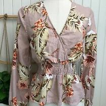 Piper  Size 6  Woman's Blush Pink Floral Elastic Waist Long Sleeve v-Neck Top Photo