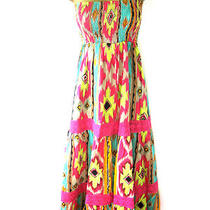 Pistachio Us S-Xl Pink Mix / Green Mix Tribal Maxi Dress Sundress Pretty Pattern Photo