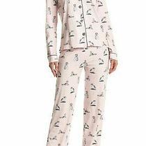 Pj Salvage Blush Pink/gray Kittens Cats With Crowns Jersey Knit Pajama Set L Photo