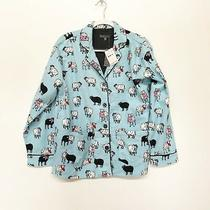 Pj Salvage Button Down Sheep Pajama Shirt Blue Women's Size Small Nwt Photo