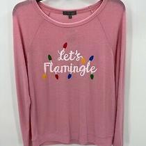 Pj Salvage Lets Flamingle Womens Pink Holiday Pajama Top Sleep Shirt Christmas M Photo