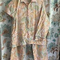 Pj Salvage Pajamas Large Pink Peach Blue Paisley Top and Bottom L Photo