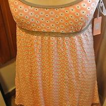 Pj Salvage Peach White Flower and Tan Lace Large Nightie Pajama Photo