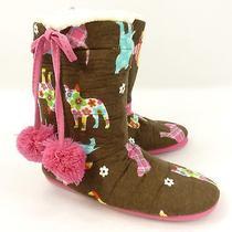 Pj Salvage Plush Fleece Slipper Boots Size S  5 6 Dog Pattern Gift Bag Photo