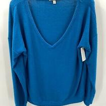 Pj Salvage Women's Dream Mix Long Sleeve v-Neck Lounge Top - Blue Size L Large Photo