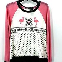 Pj Salvage Womens Small Flamingo Pink Gray White Pajama Top Pullover Nwt Photo