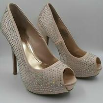 Platform High Heel Pumps Shoes Rhinestone Bling Blush Peep Toe  Sz. 8.5  J. Lo Photo