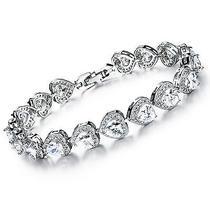 Platinum Plated Links Chain Heart Swarovski Element Cubic Zirconia Bracelet Photo