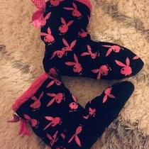 Playboy Bunny Pink Black Booties Slippers Snuggly Winter Sock Uggs New Us6-9 Photo