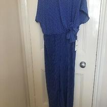 Pleated Leg Jumpsuit With Belt Size Small Zara White Polka Dot Blue Photo