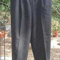 Pleated Striped Bagatelle Merino Wool Womens Trousers Pants Cuffs Size 16 Photo