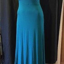 Plenty by Tracy Reese Anthropologie Ruched Rayon Teal Long Maxi Dress M New 52 Photo