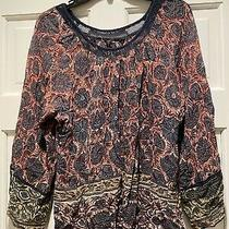 Plenty by Tracy Reese Anthropologie Semi-Sheer Navy Floral Boho Peasant Top Xs Photo