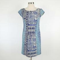 Plenty by Tracy Reese Sheath Dress Womens 2 Blue Ivory Geometric v-Back Stretch Photo