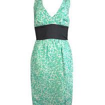Plenty by Tracy Reese Women's Printed Twist Strap Silk Dress 0 Mint Clover Photo