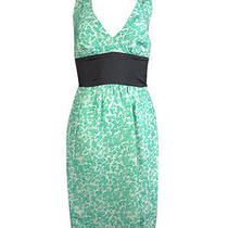 Plenty by Tracy Reese Women's Printed Twist Strap Silk Dress 0 Mint Clover Photo