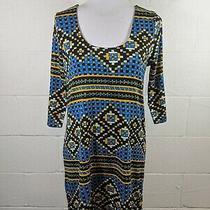 Plenty Tracy Reese Medium Petite Blue Black Yellow Geometric Sheath Dress Photo