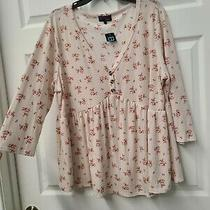 Plus 1x Blush Pink Ditsy Floral Babydoll Top Buttons Blouse Girly  Torrid Gift Photo