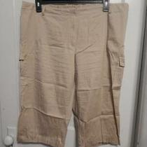 Plus Size Christy Woman Tan Khaki Cargo Cuffed Capri Pants 24 24w 2x 3x Photo