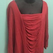 Plus Sz Women's Xxl Grace Elements Red Stretch Casual Shirt Slenderizing Solid Photo