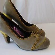 Poetic Licence Orient Express Taupe / Yellow Leather Retro Pinup Pumps 10 M Photo