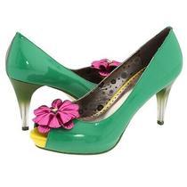 Poetic Licence Women Sz 39 (Us 8) Green Summer Bloom Colorblock Slip on Pumps Photo