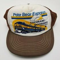 Polar Bear Express Cochrane Moosonee Ontario Train Hat Cap Brown Adult Snapback Photo
