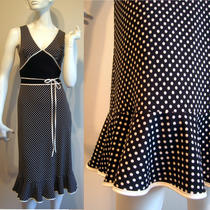 Polka Dot Print Dress b&w Fitted Tie Waist Ruffle Hem Vintage Express 3 4 S Xs Photo