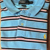 Polo by Ralph Lauren Authentic Men's Light Blue Aqua Striped Mesh Shirt Xxl Rare Photo
