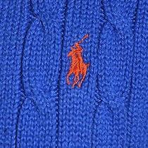 Polo by Ralph Lauren Blue Men's Sweater W/ Orange Pony Logo Size Medium M Photo