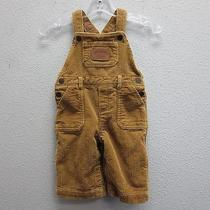 Polo Country Ralph Lauren Boys Gold Brown Leather Patch Corduroy Overalls 6m Photo