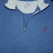 Polo Ralph Lauren 1/4 Zip Sweater -M- Blue -Golf -Pony -Soft Pima Performance Photo