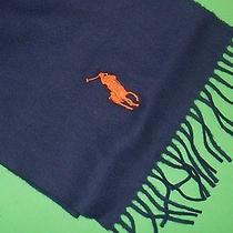 Polo Ralph Lauren 100% Lambs Wool Big Pony Scarf Italy Men's Navy Blue Orange Nw Photo
